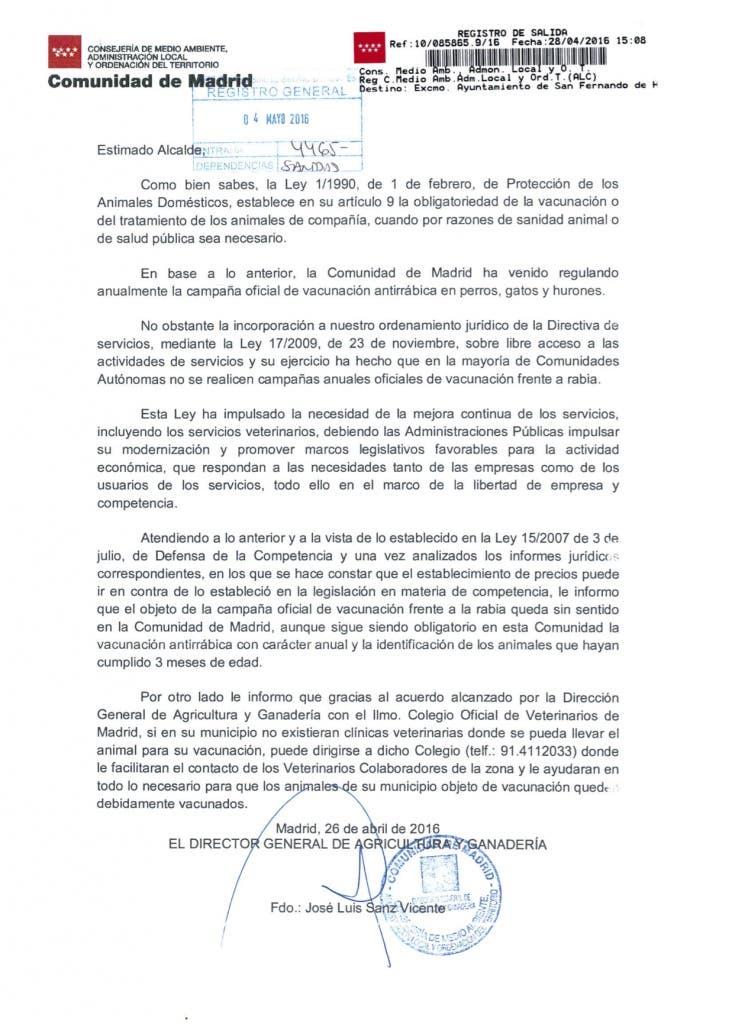Escrito remitido por la Comunidad de Madrid difundido por el Ayuntamiento de San Fernando de Henares
