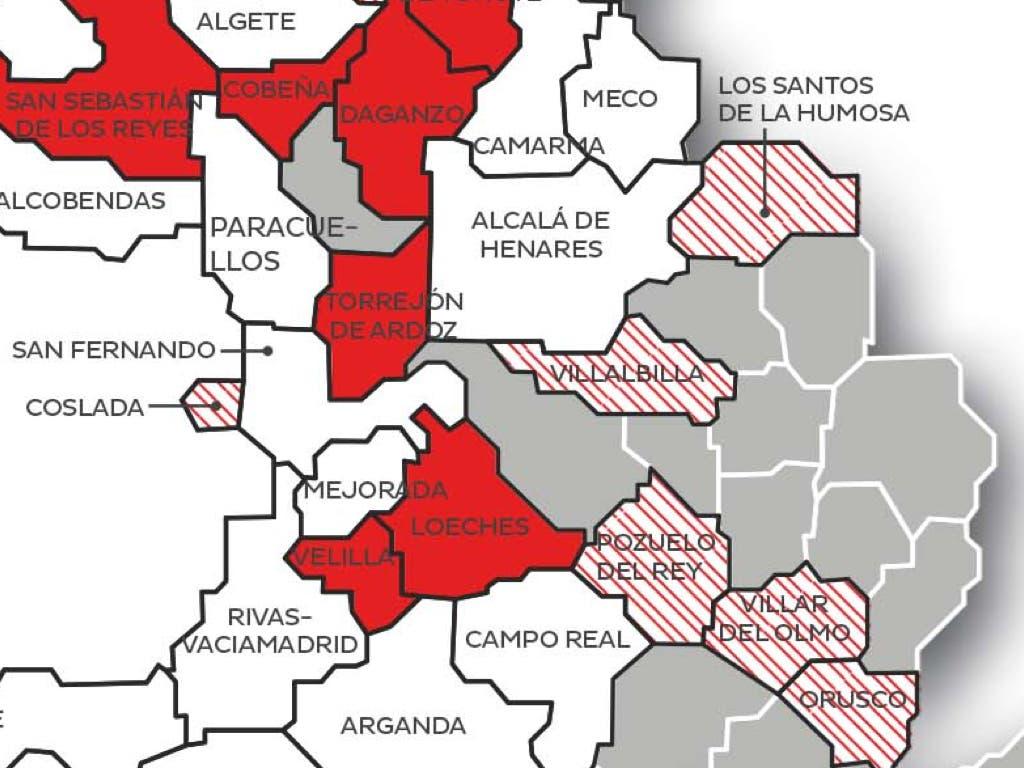 ¿Qué municipios del Corredor del Henares son merengues y cuáles son colchoneros?