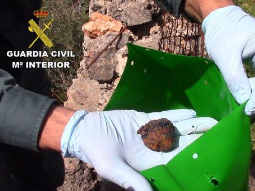 Bola de carne envenenada similar a las que denuncian en Arganda. (Archivo/ Guardia Civil).