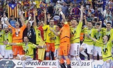 El Movistar Inter celebra esta noche en la Plaza Mayor de Torrejón su título de campeón de Liga