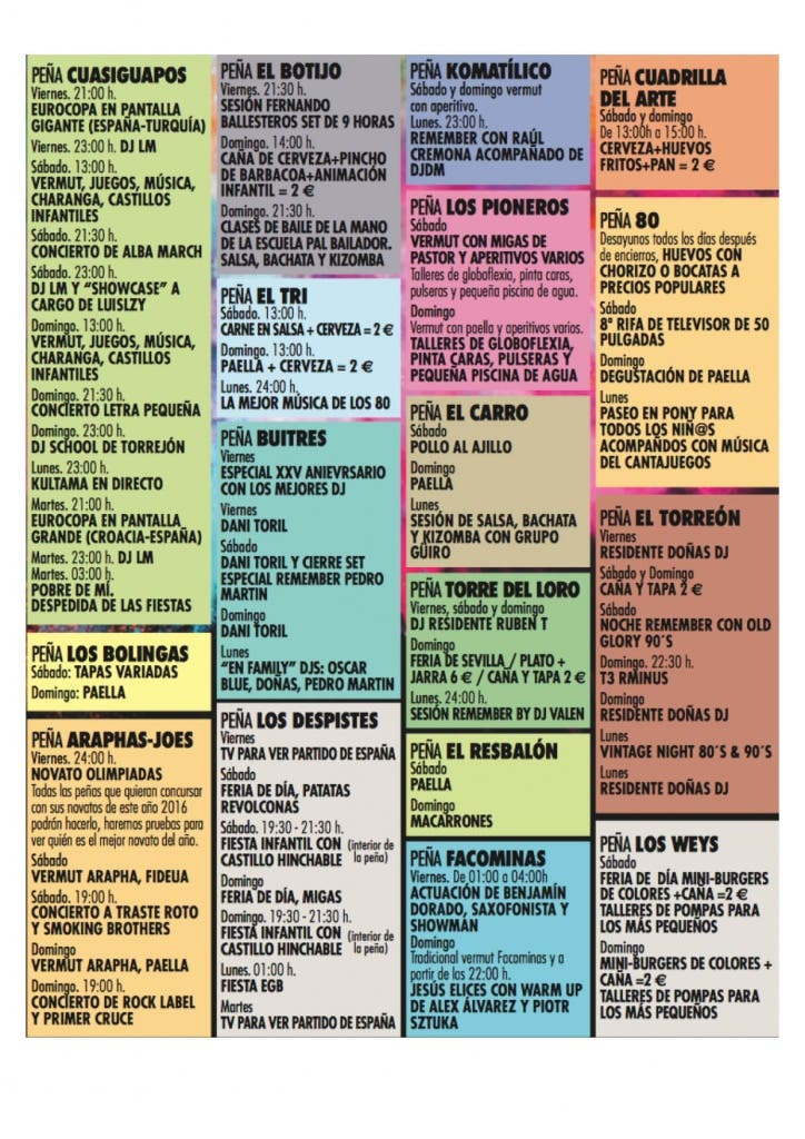 Actividades de las Peñas según refleja el programa oficial del Ayuntamiento.