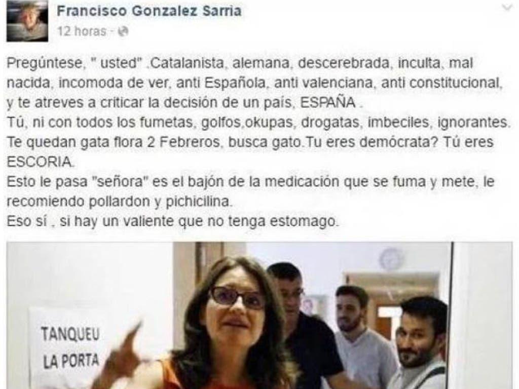 El mensaje que Francisco publicó sobre Oltra (Facebook).