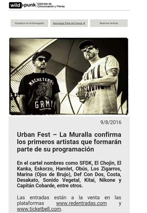 Comunicado de la empresa Wild Punk en el que confirma la actuación de Costa, publicado el miércoles 8 de agosto de 2016.