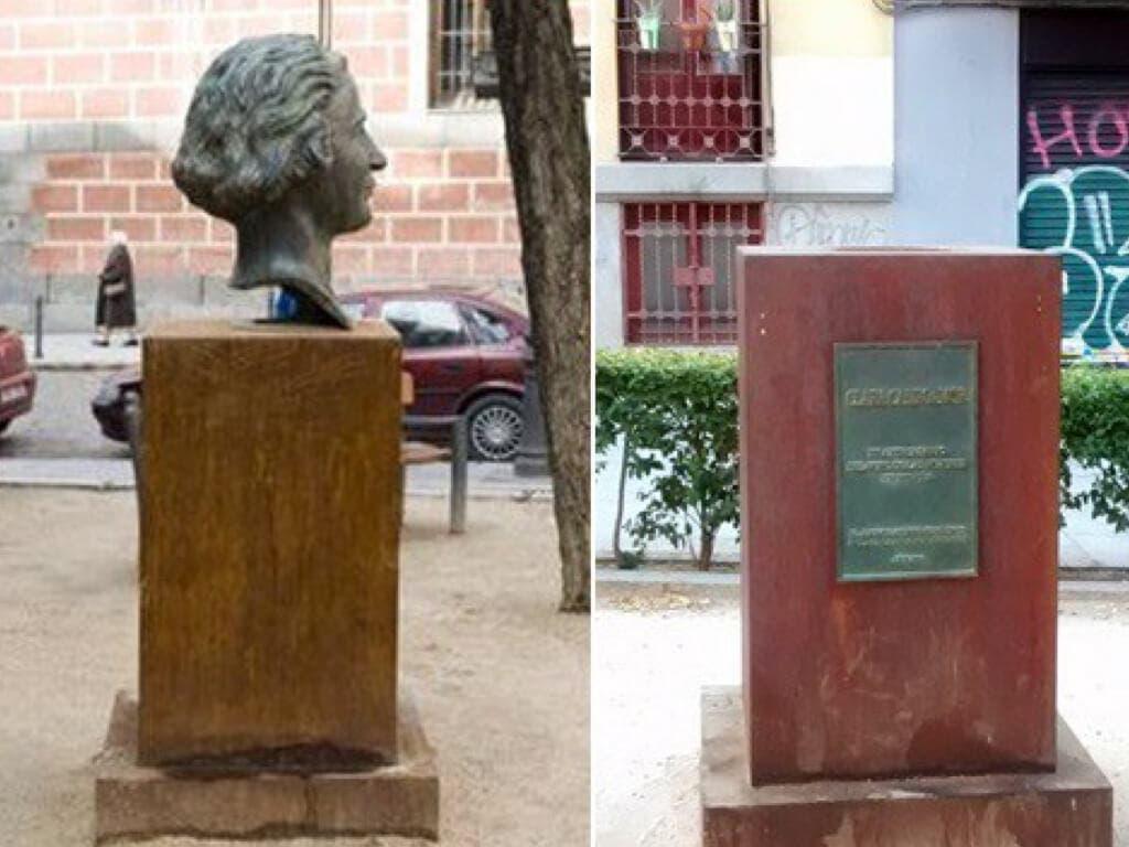 Roban el busto de Clara Campoamor en Malasaña con una radial