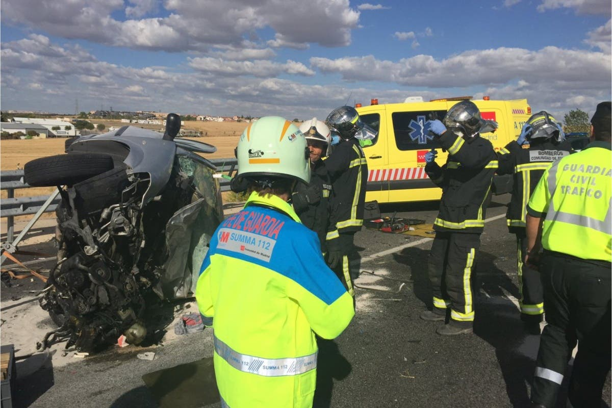 Dos muertos en un brutal accidente en Madrid