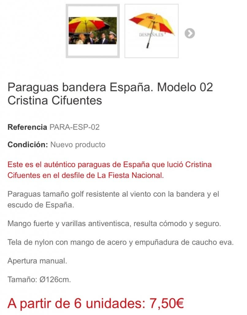 Así se anuncia el paraguas de Cifuentes en la web de la tienda de Arganda.