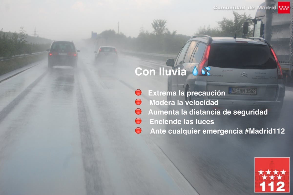 El sábado lluvioso deja más de 180 accidentes de tráfico en la Comunidad de Madrid