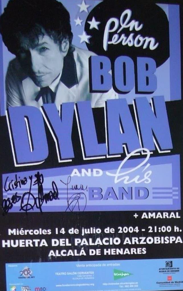 Cartel anunciando el concierto de Bob Dylan en Alcalá de Henares, en 2004.
