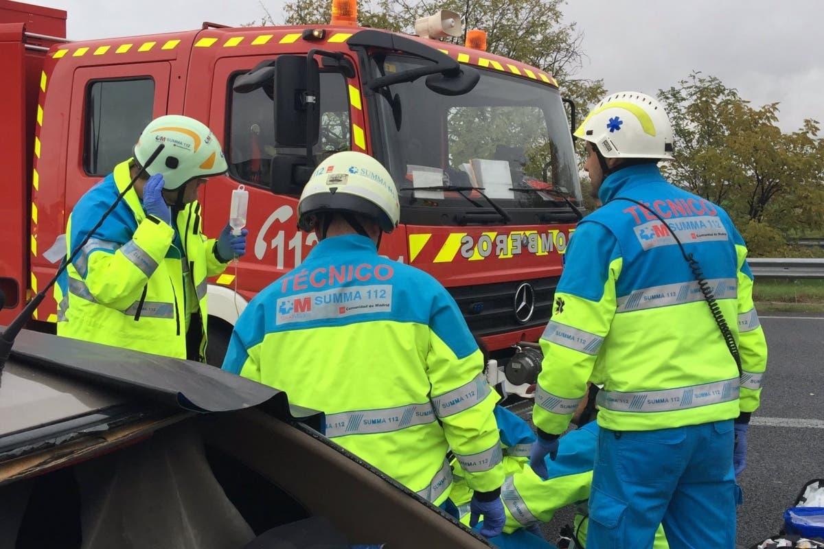 Un muerto y seis heridos en un accidente múltiple en Fuenlabrada