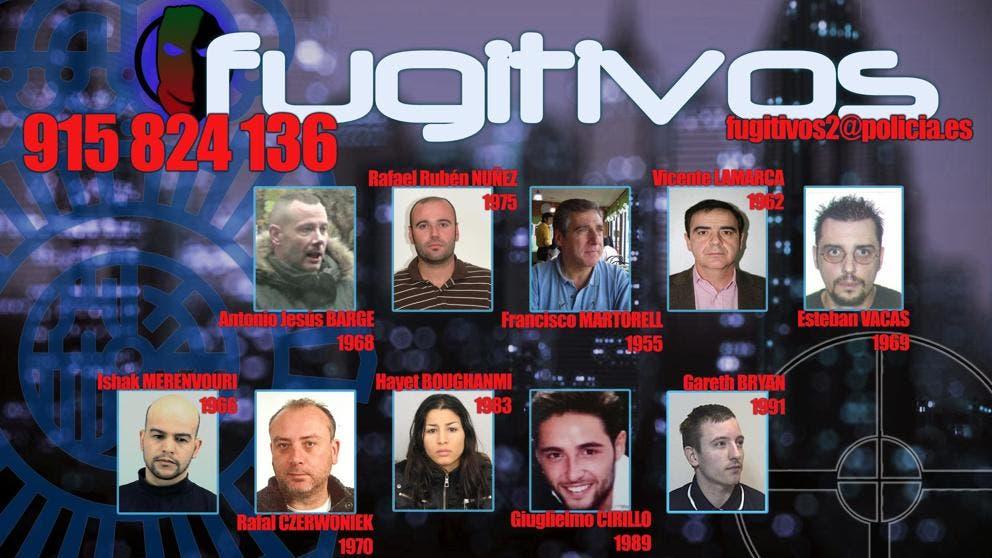 La Policía publica la lista de los 10 fugitivos más buscados