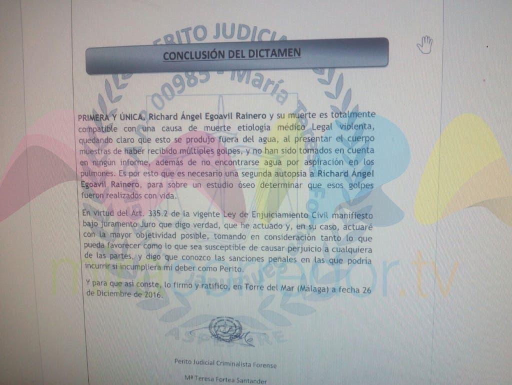 Conclusión del informe de la perito judicial criminalista forense, María Teresa Fortea, al que ha tenido acceso MiraCorredor.tv.