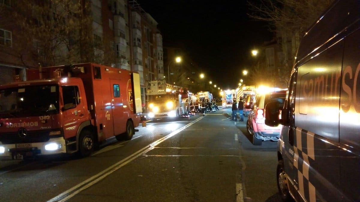 Los equipos de emergencia trabajando en la zona (Emergencias Madrid).