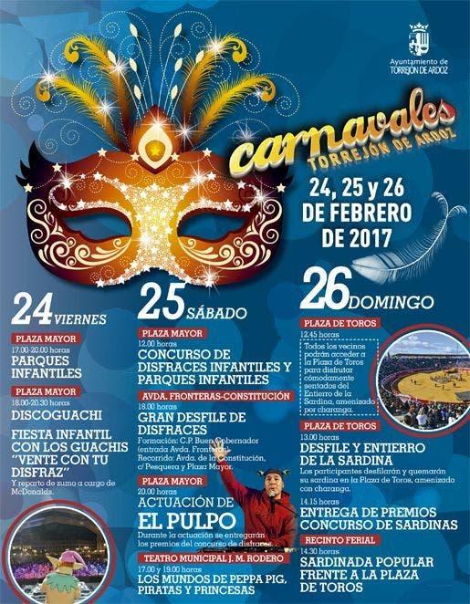 Cartel de los Carnavales de Torrejón de Ardoz 2017 (Ayto).