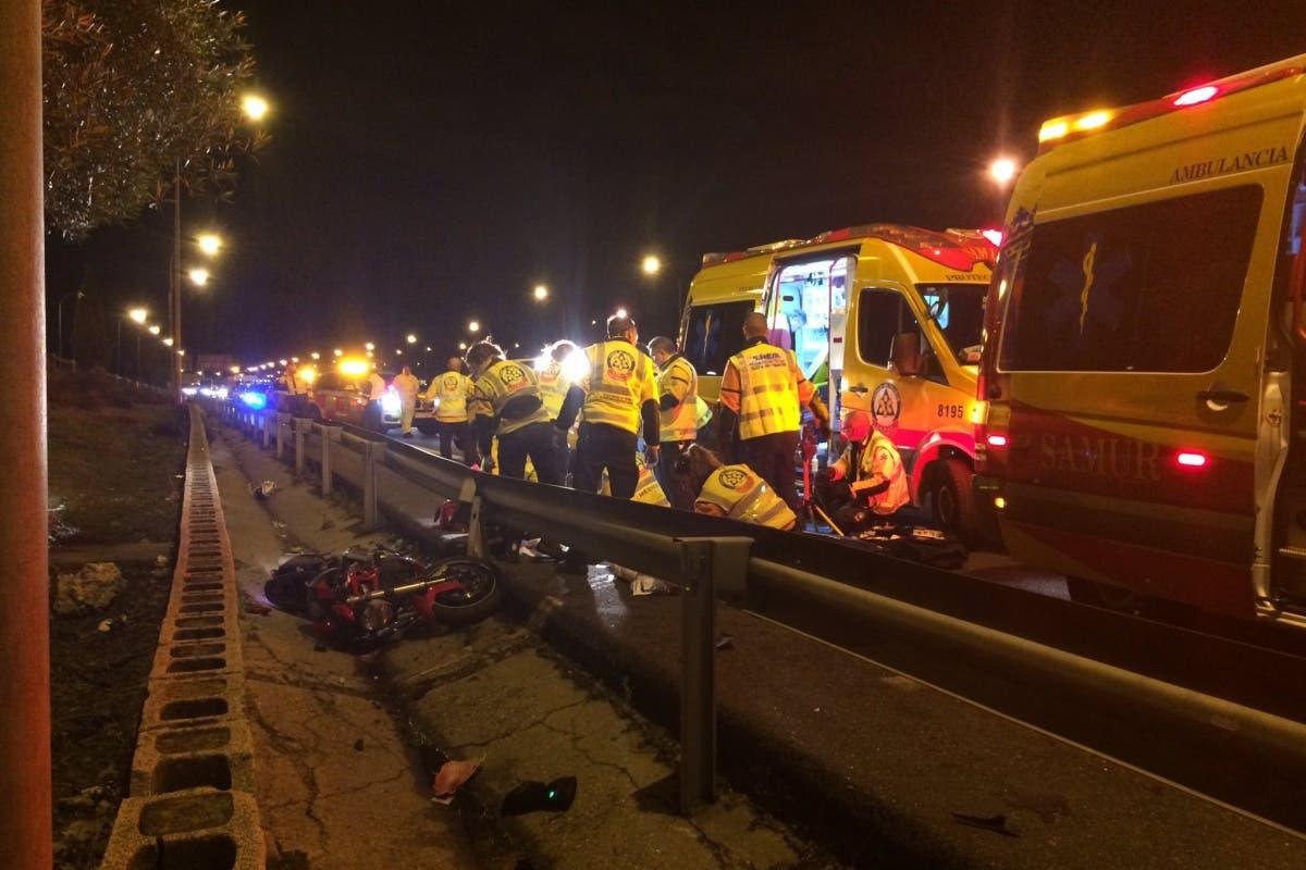 Fallece un motorista en un accidente en la M-40 (San Blas)