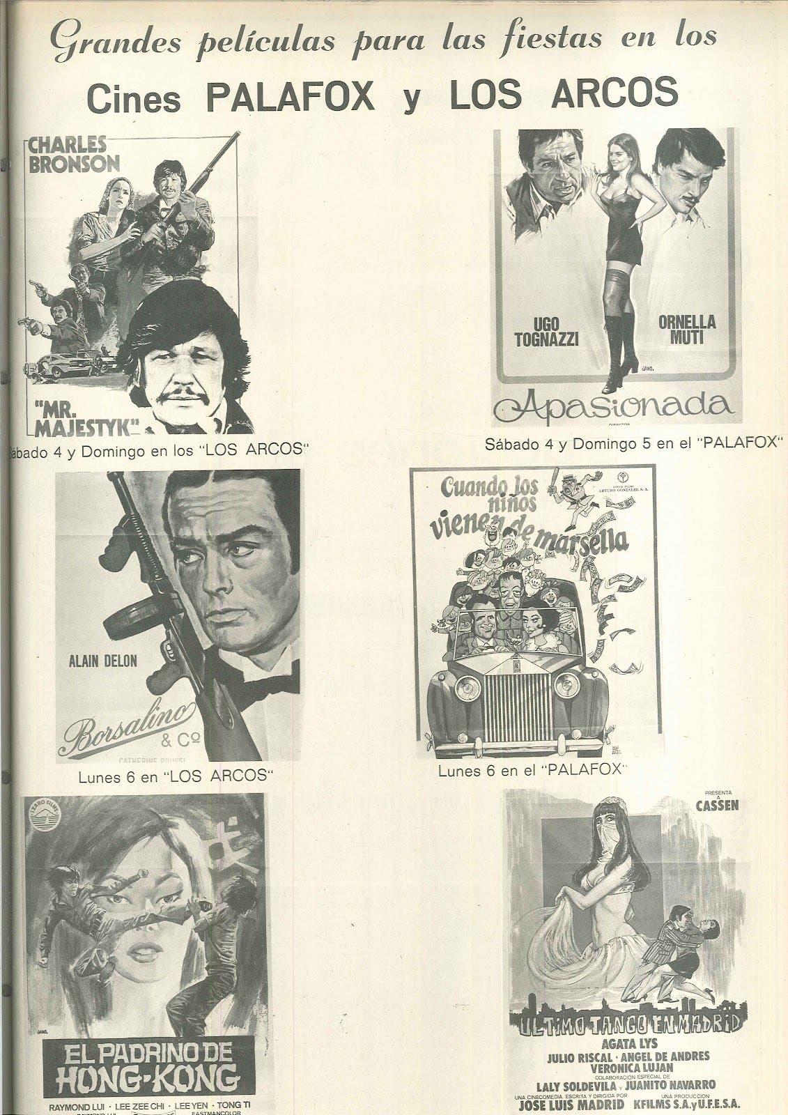 Las películas programadas para las fiestas de octubre de 1975 en los cines Palafox y Los Arcos, ambos del mismo empresario. (Archivo Municipal de Torrejón de Ardoz. El Despunte 1975)