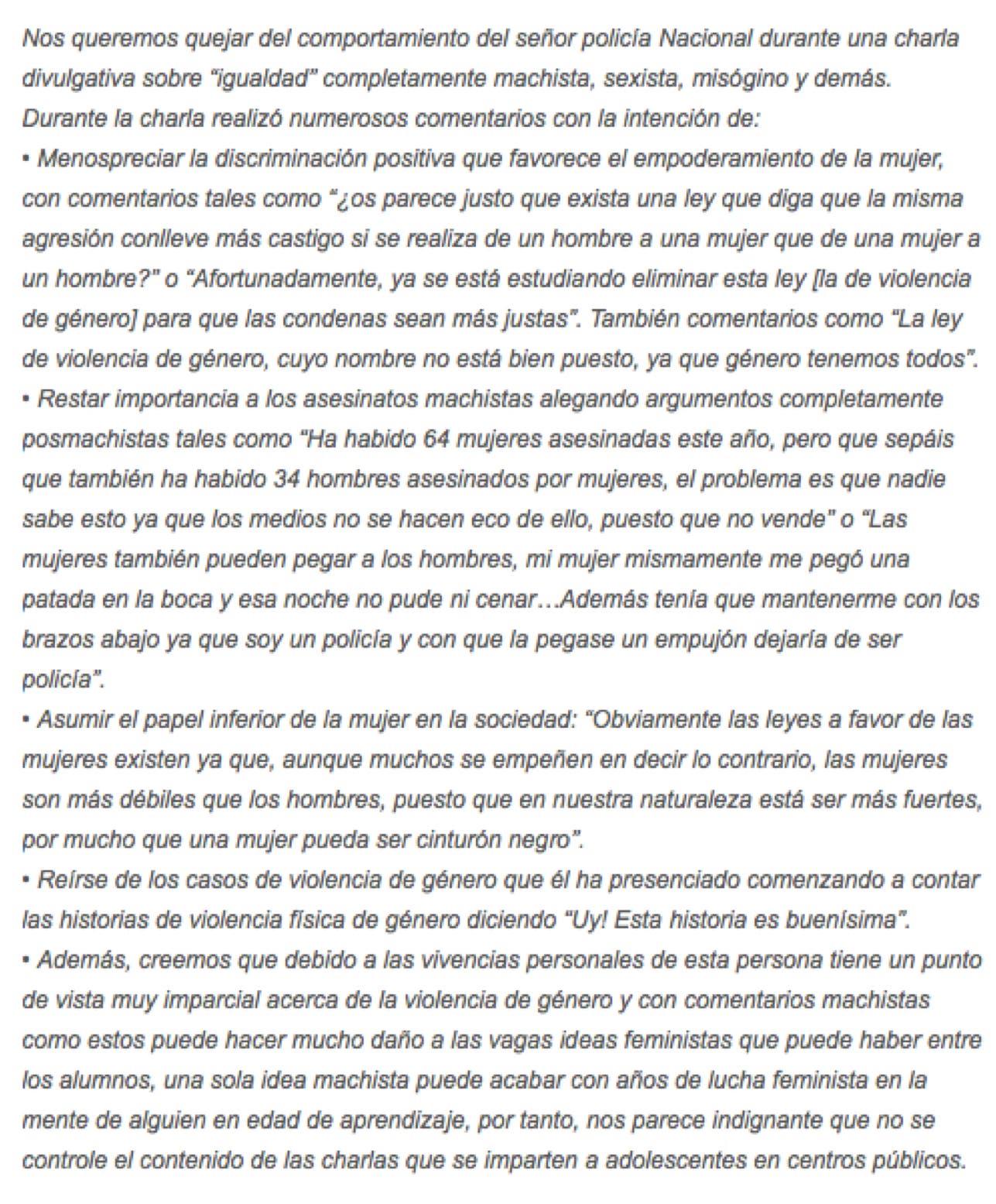 Carta escrita por varios alumnos de un IES de Alcalá.