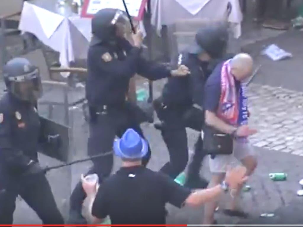 Batalla campal en Madrid provocada por los hinchas del Leicester