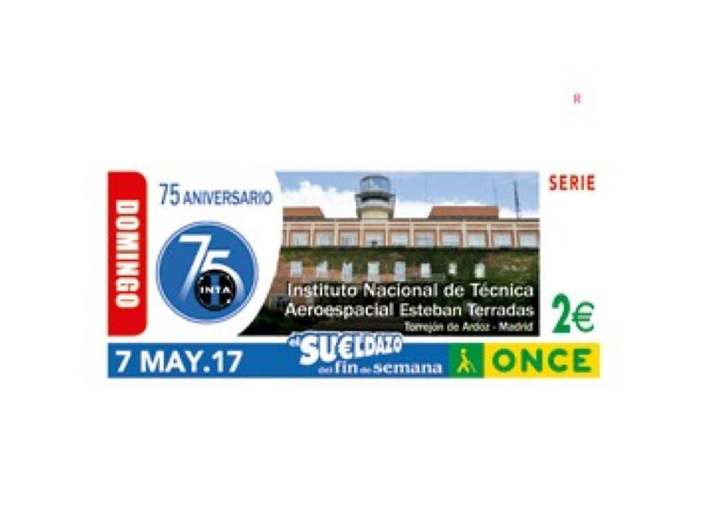 La ONCE dedica este domingo su cupón a los 75 años del INTA en Torrejón
