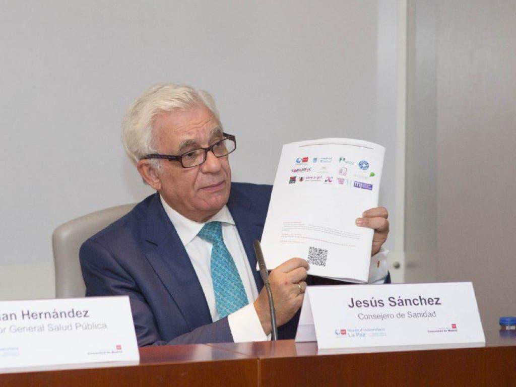 El consejero de Sanidad durante la presentación (Comunidad de Madrid).