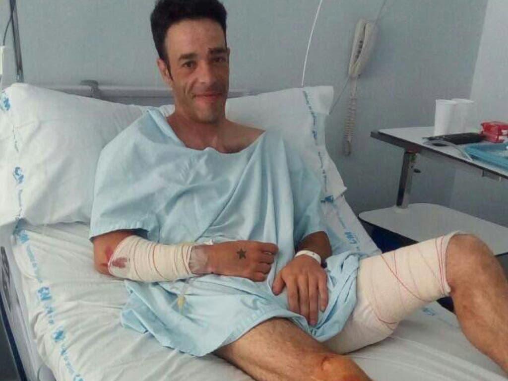 Jorge recuperándose en e hospital (MiraCorredor.tv).