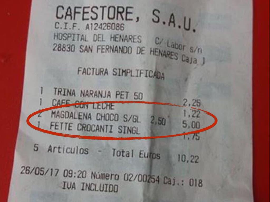 Hospital del Henares: Dos magdalenas sin gluten, 5 euros