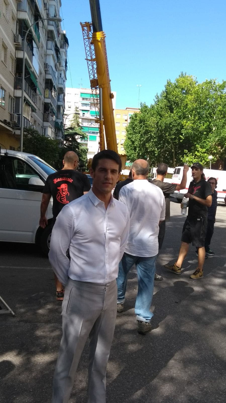 Alejo Sauras durante el rodaje en Alcalá (Ayto.).