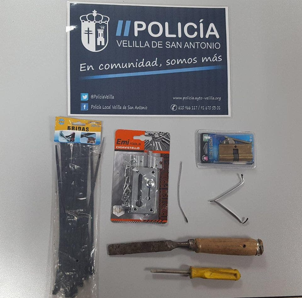 Objetos incautados (Policía Velilla).