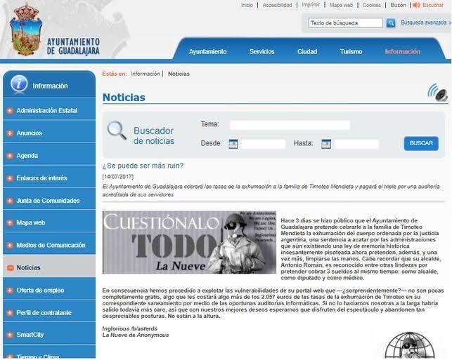 Hackean la web del Ayuntamiento de Guadalajara