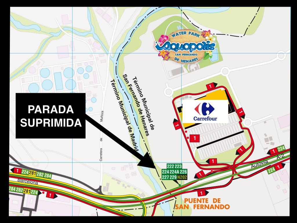 Adiós a la parada de autobuses del Carrefour de San Fernando, en la A-2