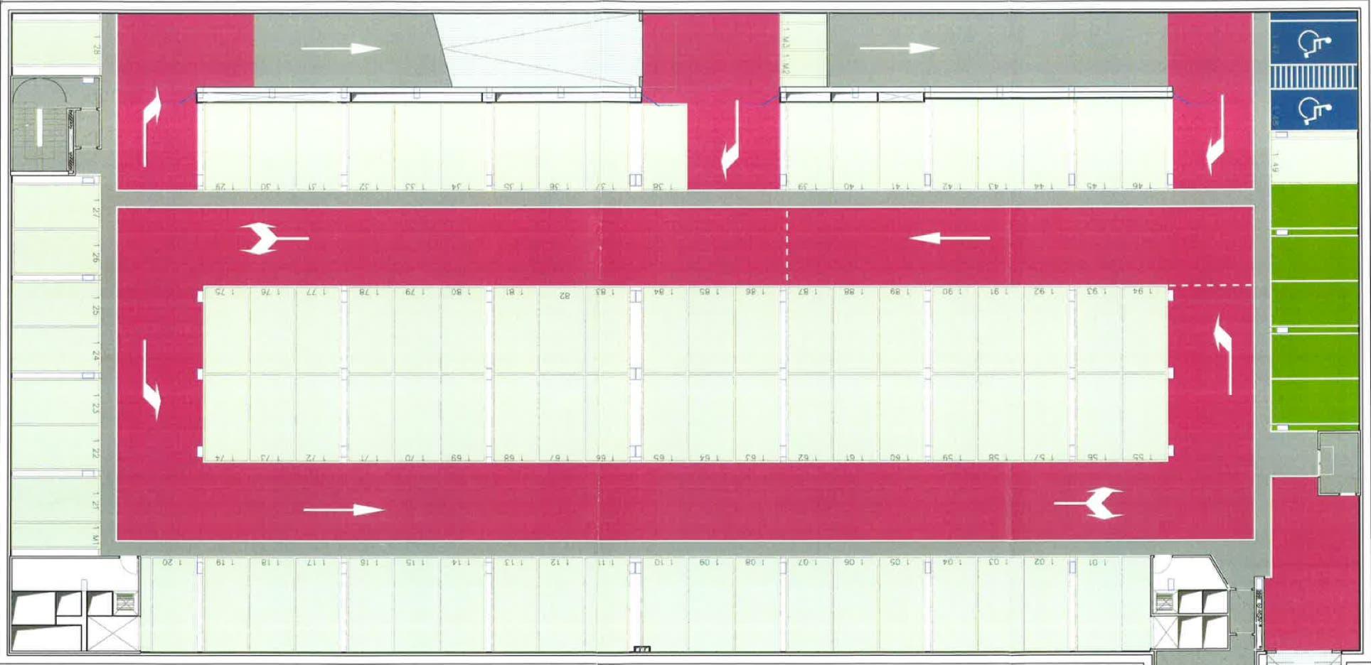 Plano de una de las plantas del nuevo parking.