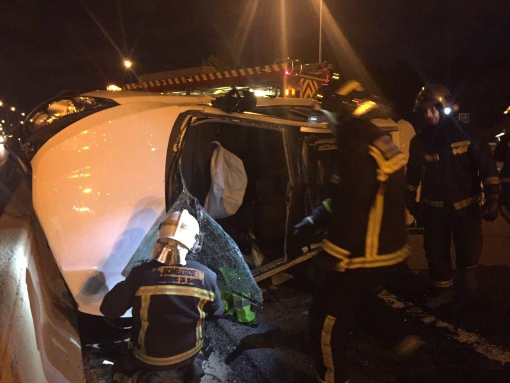 Aparatoso accidente en la A-2, San Fernando de Henares