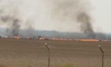 Imágenes instantes después de estrellarse el F-18 en Torrejón