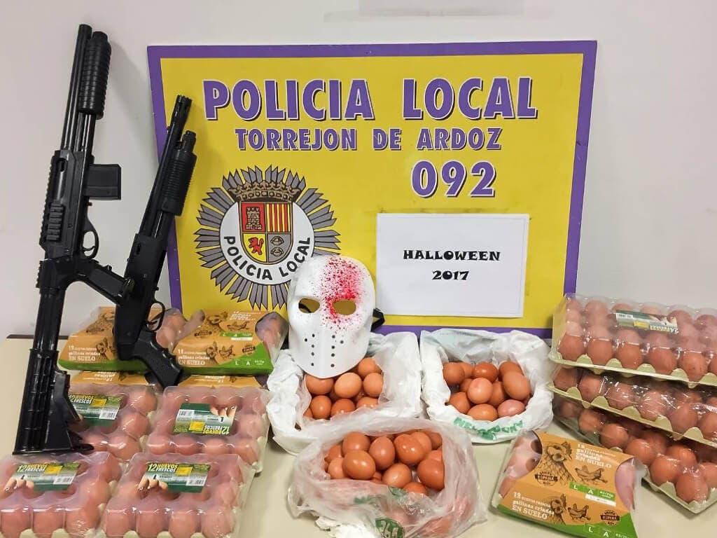 La Policía de Torrejón incauta decenas de huevos en Halloween