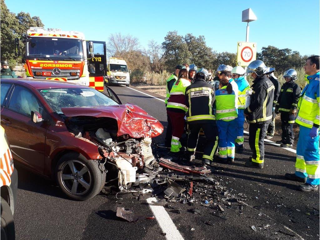 Cuatro heridos en un accidente múltiple en la M-513
