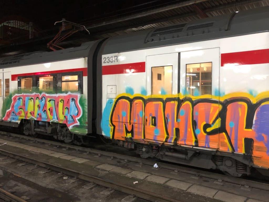La Policía busca a los grafiteros que asaltaron un tren de la C-2