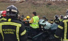 Tres heridos en un aparatoso accidente de tráfico en Madrid