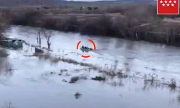 Rescatan a un perro atrapado en el río Henares, en Torrejón