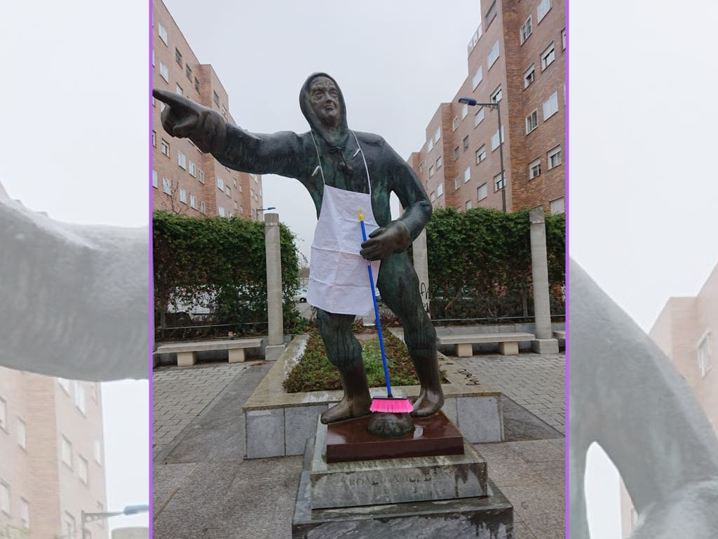 Las estatuas masculinas de Coslada se suman al Día de la Mujer