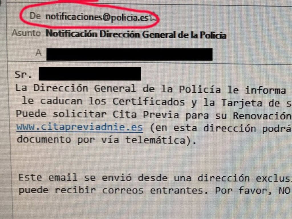 La Policía advierte: si recibes un correo como este no es un bulo
