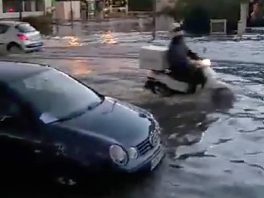 La tromba de agua deja imágenes como ésta en el Corredor del Henares