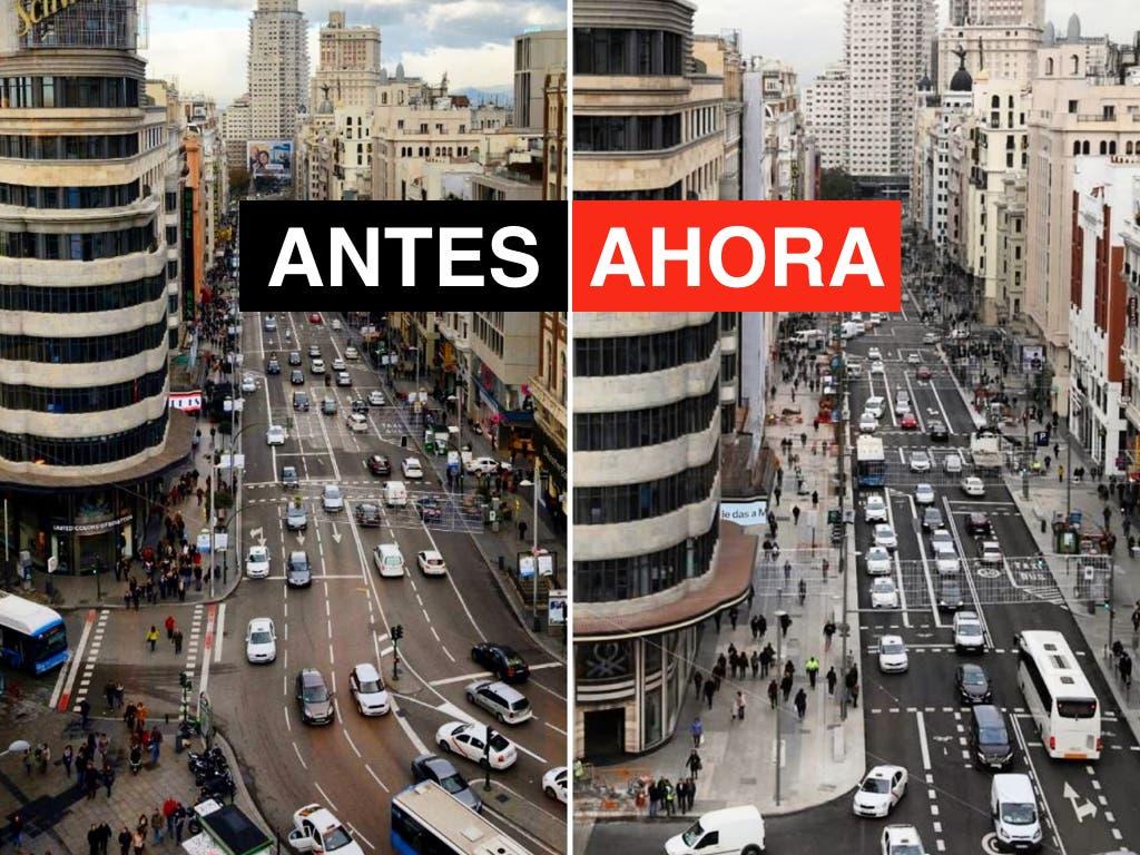Madrid estrena este viernes su nueva Gran Vía, más peatonal
