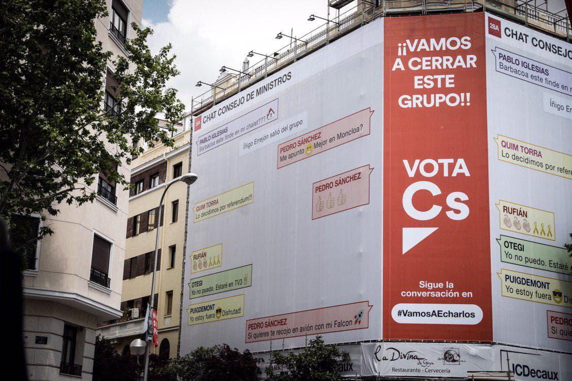 Ciudadanos cuelga una nueva lona en Madrid contra Pedro Sánchez