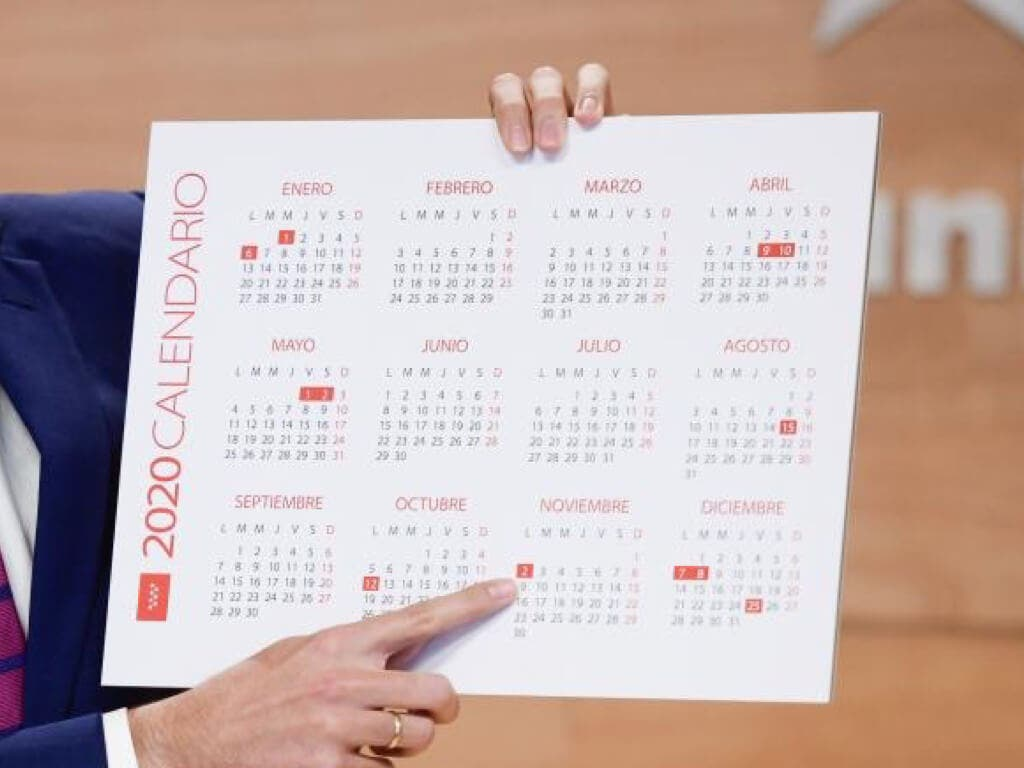 El calendario laboral de la Comunidad de Madrid para 2020