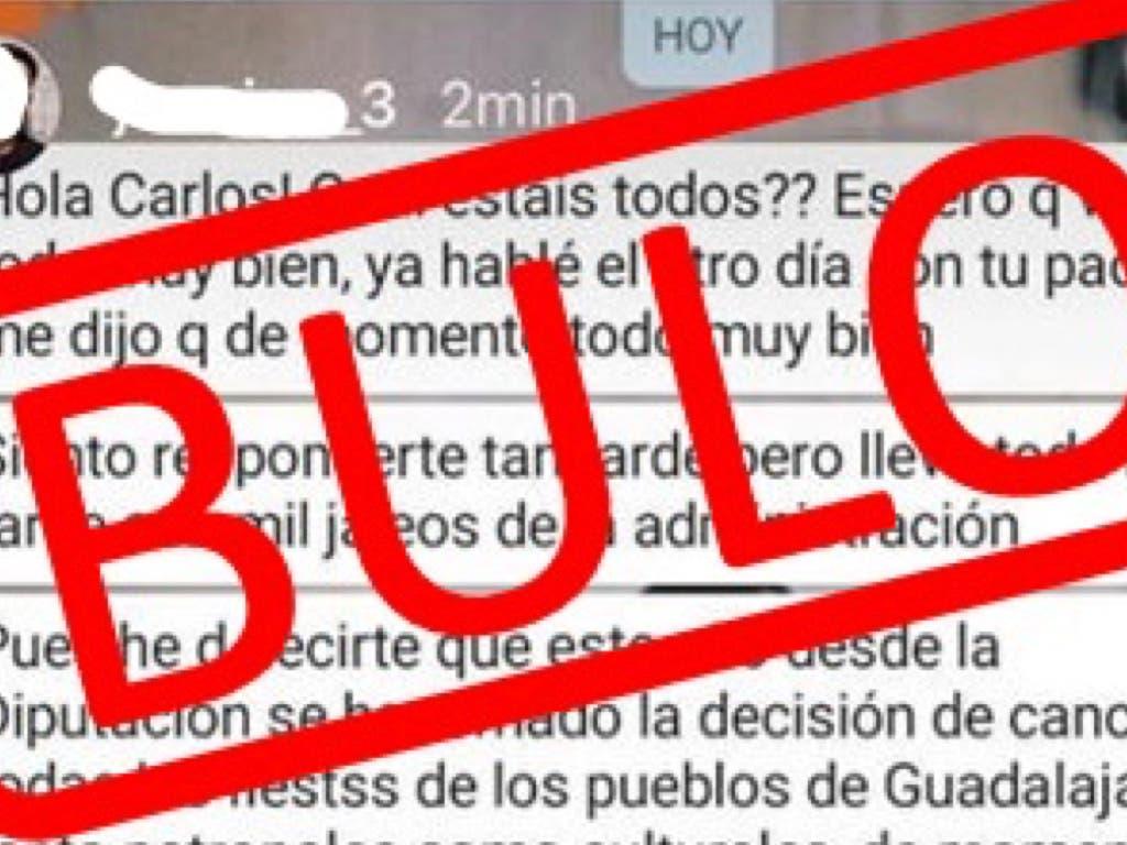 La Diputación de Guadalajara desmiente un bulo que circula por WhatsApp