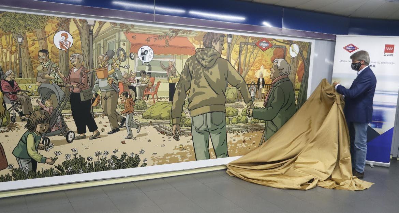El mural de Metro que homenajea a los mayores en la estación de Plaza de Castilla