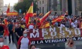 Un detenido en Madrid durante una protesta contra la gestión del Gobierno