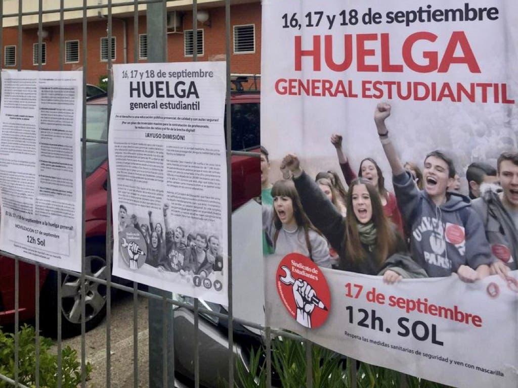 Los estudiantes inician huelga de tres días contra el Gobierno para reclamar aulas seguras