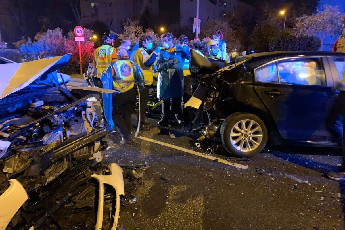 Cuatro heridos en un accidente múltiple en Madrid