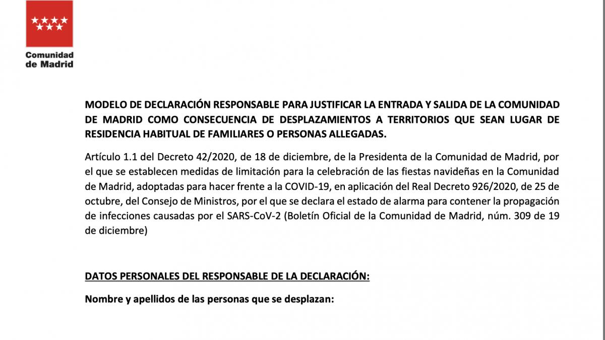 El documento que debes rellenar para salir o entrar de la Comunidad de Madrid