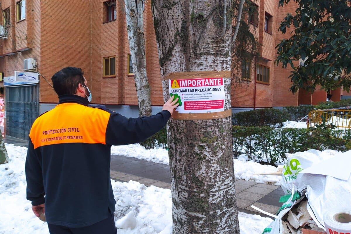San Fernando de Henares coloca carteles en los árboles pidiendo extremar las precauciones